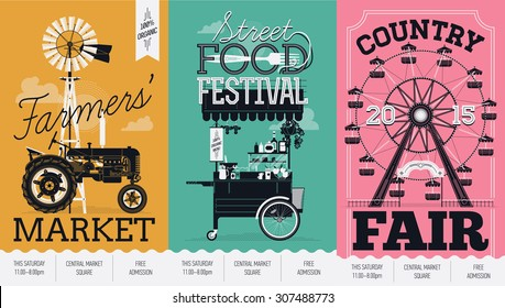 Beautiful vector detailed event posters set. Farmers' market, street food festival and country fair. Three creative poster templates with retro farm tractor, street food cart and ferris wheel ride