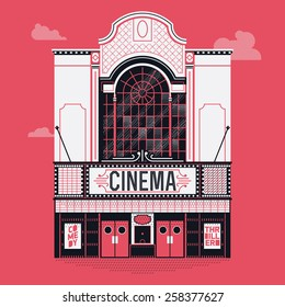 Beautiful vector detailed fully decorated classic motion picture movie film theater building facade with marquee signboard. Entertainment design element on cinema house front entrance