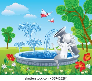 Beautiful vector drawing of a Park with a fountain and angel