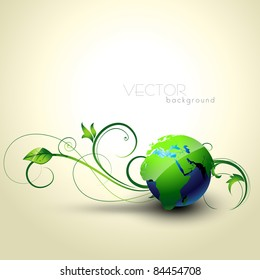 beautiful vector earth with floral coming out