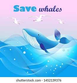 Beautiful vector ecological poster with a whale in the sea and seagulls. Template for advertising whales and the sea to protect nature.