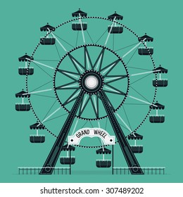 Beautiful vector ferris observation amusement country fair wheel. Ideal for graphic and motion design, wall art posters and other printables