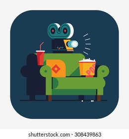Beautiful vector flat design web or application icon on home movie watching entertainment with green sofa couch, soda, popcorn and film projector. Ideal for web, graphic and motion design