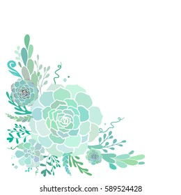 Beautiful vector floral corner with succulents isolated on white.