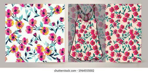 Beautiful vector floral pattern, spring summer background with tropical flowers.Liberty style. Floral seamless background for fashion prints. Ditsy print Spring bouquet on women's top mockup.