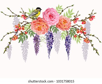 Beautiful  vector floral summer pattern background with japanese spring branches, roses, peony flowers, bird. Perfect for wallpapers, web page backgrounds, surface textures, textile