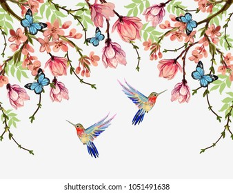 Beautiful  vector floral summer pattern background with tropical japanese flowers, wisteria, magnolia, butterflies, magnolia. Perfect for wallpapers, web page backgrounds, surface textures, textile.