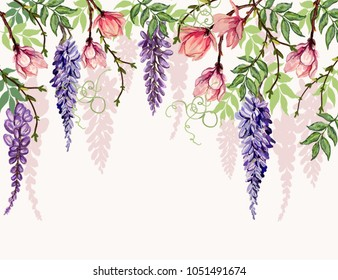 Beautiful  vector floral summer pattern background with tropical japanese flowers, wisteria, magnolia. Perfect for wallpapers, web page backgrounds, surface textures, textile.