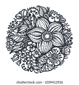 Beautiful vector flowers and plants in the circle. Hand drawn vector illustration in sketch doodle style