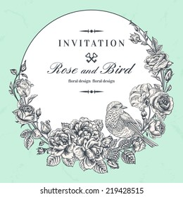 Beautiful vector frame with roses and birds in vintage style.