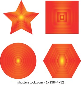 Beautiful vector geometric shapes in red on a white background. Circle square polygon and star.