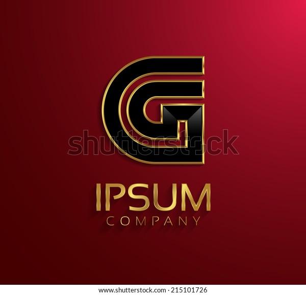 Beautiful vector graphic black alphabet with gold rim / letter G / symbol