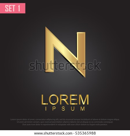 Beautiful Vector Graphic Gold Alphabet Letter Stock Vector Royalty