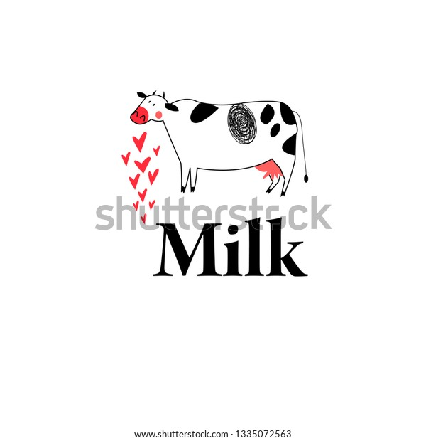 Beautiful vector graphics illustration of a cow and milk on a white background