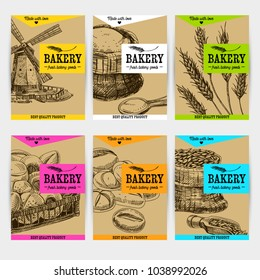 Beautiful vector hand drawn bakery card set. Detailed trendy style images. Modern sketch elements collection for packaging or cards design.
