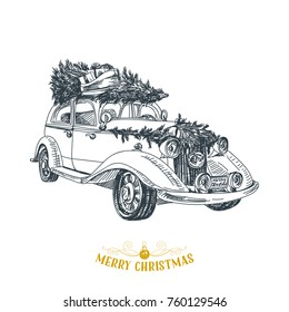 Beautiful vector hand drawn christmas car Illustration. Detailed retro style images. Vintage sketch Element for labels design.