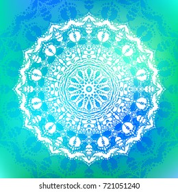 Beautiful Vector Hand Drawn Indian Ornament Mandala On Grunge Background In Watercolor Style Can Be