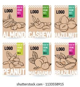 Beautiful vector hand drawn organic nut card set.Almond, cashew, hazelnut, peanut, macadamia, brazilian nut. Template for packaging design. Modern illustrations isolated on white background.