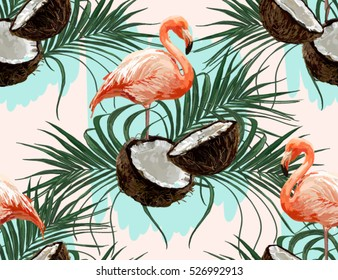 Beautiful vector hand drawn seamless pattern with coconut  palm leaves and flamingo. Boho style, isolated object. Perfect for wallpapers, web page backgrounds, surface textures, textile