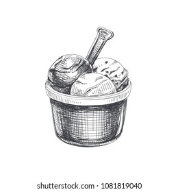 Beautiful vector hand drawn three scoop of ice cream in a cup Illustration. Detailed retro style image. Vintage sketch element for labels, packaging and cards design. Modern background.