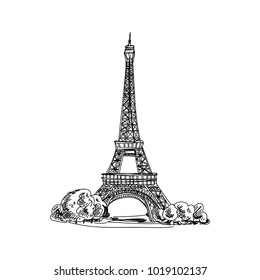 Beautiful vector hand drawn vintage france architecture Illustration. Detailed retro style images. Sketch element for labels and cards design.