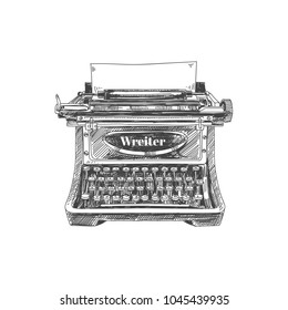 Beautiful vector hand drawn vintage typewriter Illustration. Detailed retro style image. Sketch element for labels and cards design.