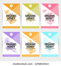 Beautiful vector hand honig products card set. Detailed trendy style backgrounds. Modern sketch elements collection for packaging design.