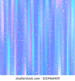 Beautiful Vector Holographic Texture with Colorful Dots Dust. Pastel Colored Background with Lights and Stripes. Iridescent Fluorescent Fantasy Pattern.