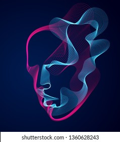 Beautiful vector human face portrait, artistic illustration of man head made of dotted particles array, Artificial Intelligence, pc programming software interface, digital soul.
