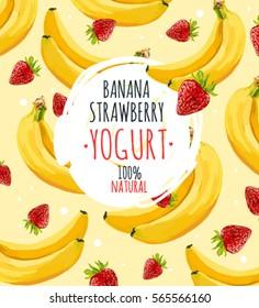 Beautiful vector illustration with banana, strawberry and milk splashes. Yogurt logo on the yellow banana background.