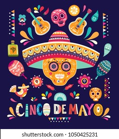 Beautiful vector illustration with design  for Mexican holiday 5 may Cinco De Mayo. Vector template with traditional Mexican symbols Mexican skull, Mexican guitar, flowers, red pepper, maracas