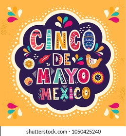 Beautiful vector illustration with design  for Mexican holiday 5 may Cinco De Mayo. Vector template with traditional Mexican symbols