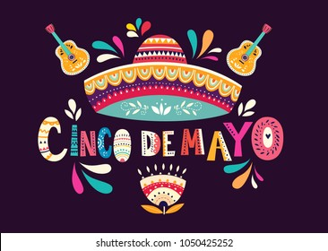 Beautiful vector illustration with design  for Mexican holiday 5 may Cinco De Mayo. Vector template with traditional Mexican symbols skull, Mexican guitar, Mexican sombrero