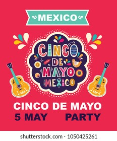 Beautiful vector illustration with design  for Mexican holiday 5 may Cinco De Mayo. Vector template with traditional Mexican symbols Mexican guitar, flowers, red pepper, maracas