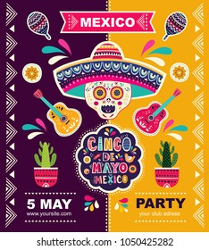 Beautiful vector illustration with design  for Mexican holiday 5 may Cinco De Mayo. Vector template with traditional Mexican symbols skull, flowers, red pepper, maracas