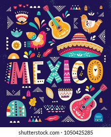 Beautiful vector illustration with design  for Mexican holiday 5 may Cinco De Mayo. Vector template with traditional Mexican symbols: Mexican sombrero, Mexican guitars, folk elements