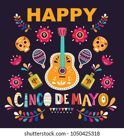 Beautiful vector illustration with design  for Mexican holiday 5 may Cinco De Mayo. Vector template with traditional Mexican symbols skull, Mexican guitar, flowers, red pepper, maracas