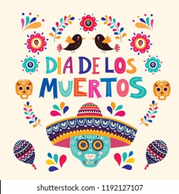 Beautiful vector illustration with design  for Mexican holiday: day of the dead.