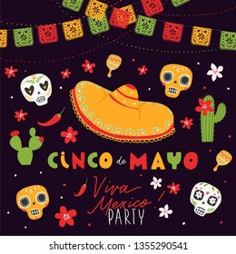 Beautiful vector illustration with design for Mexican holiday 5 may Cinco De Mayo. Fiesta banner and poster design with sugar skull, flags, flowers, decorations