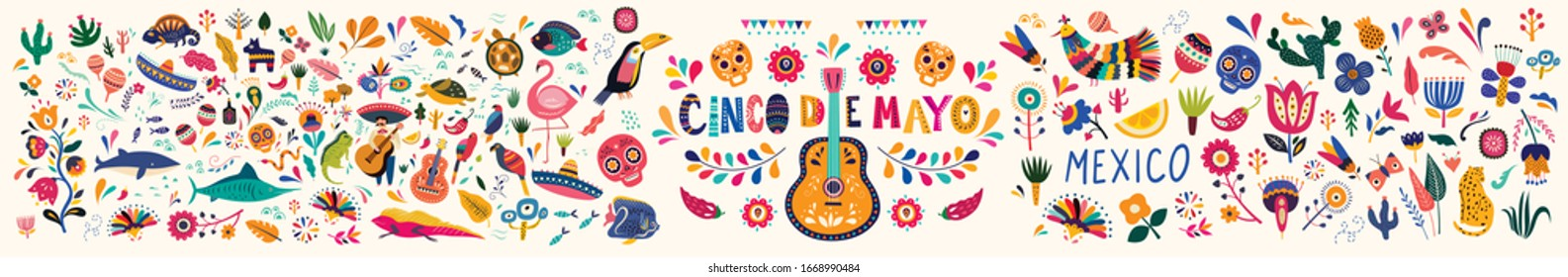 Beautiful vector illustration with design  for Mexican holiday 5 may Cinco De Mayo. Vector template with traditional Mexican symbols skull, Mexican guitar, flowers, Mexican animals