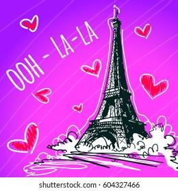Beautiful vector illustration of Eiffel Tower. France, Paris.
