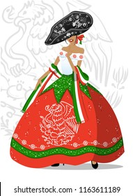 Beautiful vector illustration of girl in mexican dress for the Mexican Independence Day of September.