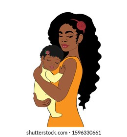 Beautiful vector illustration of a happy afro american woman holding a baby on a white background. Happy mom family concept