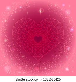 Beautiful vector illustration of a heart in low poly style. Image for your design, wedding invitations, greeting card for Valentine's Day, declaration of love. Heart on a pink background with sparkles