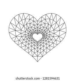 Beautiful vector illustration of a heart in low poly style. Image for your design, wedding invitations, greeting card for Valentine's Day, declaration of love. Black heart on a white background.
