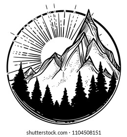 Beautiful vector illustration with nature landscape - mountains, pine forest and sun. Tattoo art. Infinite space, meditation symbols, travel, tourism.