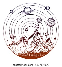 Beautiful vector illustration with nature landscape - mountains, stars and planers. Tattoo art. Infinite space, meditation symbols, travel, tourism.