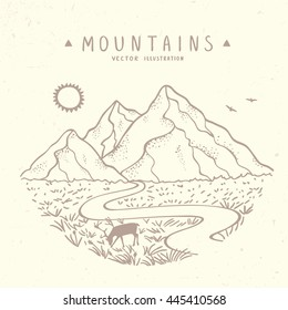 Beautiful vector illustration nature mountains. Hand drawn sketch.