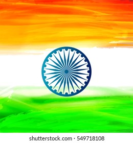 Beautiful Vector Illustration on Tri-Color grungy background on the occassion of Republic Day.