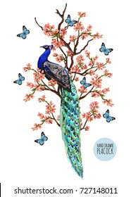 Beautiful vector illustration with peacock tropical japanese flowers, tree, spring wallpaper, branches, butterflies. Perfect for wallpapers, web page backgrounds, surface textures, textile.